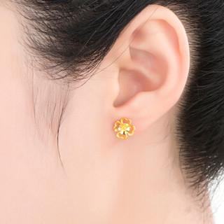 六福珠宝 足金四时春花黄金耳钉女款耳环耳饰 计价  GDG50070  约1.67克(含工费80元)