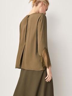 Massimo Dutti  05155601505 女士蕾丝袖设计罩衫