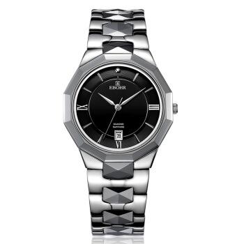EBOHR 依波 时代元素系列 JD50110117 间钨钢石英情侣表-男表(灰黑色) 钢带