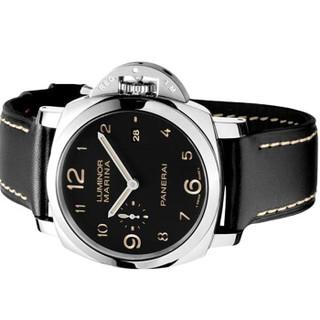 PANERAI 沛纳海 LUMINOR系列 PAM00359 男士机械腕表 44mm 黑色 黑色 皮革