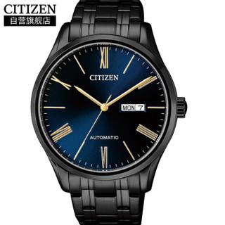 CITIZEN 西铁城 NH8365-86MB 男士自动机械时尚手表 深蓝表盘 不锈钢表带