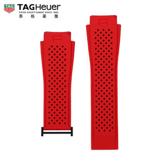 TAG Heuer 泰格豪雅 2FT6080 智能腕表红色橡胶表带 适配PVD黑钛合金表扣 45毫米