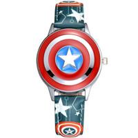 迪士尼 Disney 儿童手表美国队长翻盖皮带石英表男孩防水夜光学生手表MV-81032GN *2件