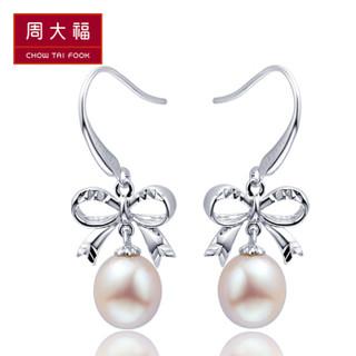 CHOW TAI FOOK 周大福 AQ32608 浪漫蝴蝶结925银珍珠耳环