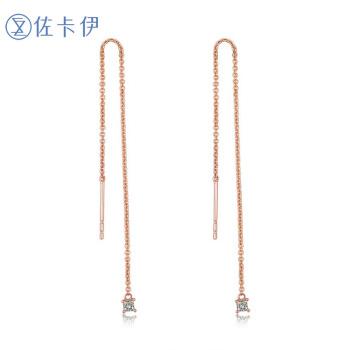 Zocai 佐卡伊珠宝 E80104T 玫瑰18K金钻石耳线
