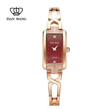 TIAN WANG 天王 星辰系列 LS3853P-B 钢带石英女士手表 酒红色
