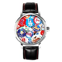 MLB 美国职棒大联盟 MLB-YH003-1/LA 休闲情侣石英表 经典大联盟徽章墙特制款 防水 真皮