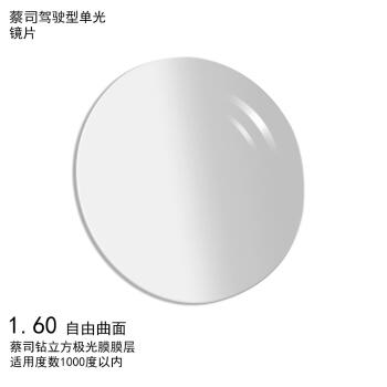 ZEISS 蔡司 1.60 非球面 钻立方极光膜 近视 远视 树脂镜片 一片装