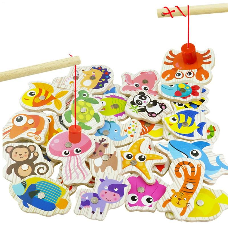 悠乐园 木质钓鱼玩具 30条随机小鱼动物+鱼竿 袋装