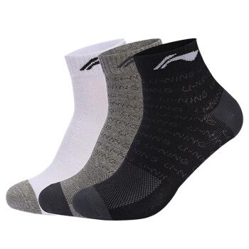 LI-NING 李寧 AWSM203-1 男款中筒襪子 加厚  3雙(黑+灰+白)