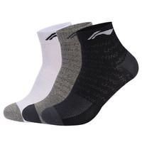 LI-NING 李宁 AWSM203-1 男款中筒袜子 加厚  3双(黑+灰+白)