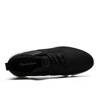 Semir 森马 WB967212 男士飞织跑鞋 黑色 43