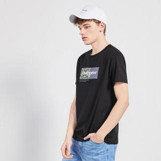 Semir 森马 19048001269 男士短袖T恤 黑色 L