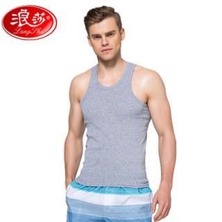 浪莎男士背心纯棉修身型紧身运动健身打底透气白色夏季潮青年 灰色 XXXL