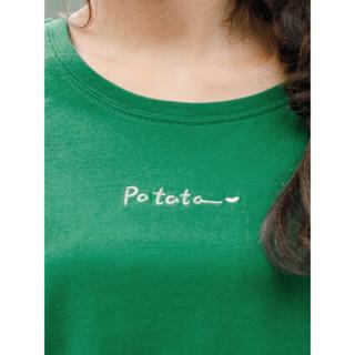 INMAN 茵曼 F1882022967 女士短袖T恤 深绿色 L