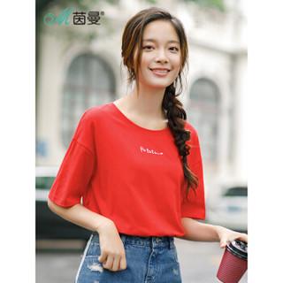 INMAN 茵曼 F1882022967 女士短袖T恤 红色 M