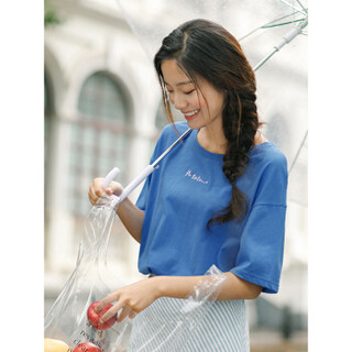 INMAN 茵曼 F1882022967 女士短袖T恤 深蓝色 XL