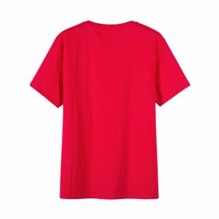 Semir 森马 19038001237 男士圆领短袖T恤 中国红 L