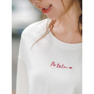 INMAN 茵曼 F1882022967 女士短袖T恤 米白色 M