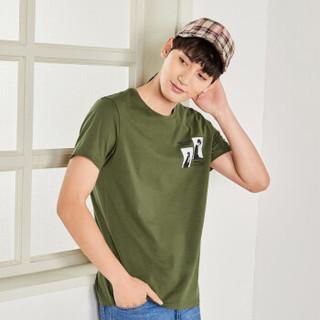 Semir 森马 19048001270 男士圆领短袖T恤 军绿 S