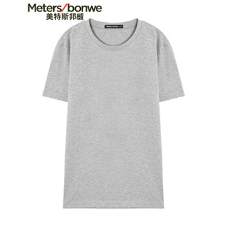 Meters bonwe 美特斯邦威 226250 男士净色圆领T恤 中花灰 170/92