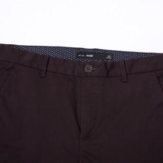 Semir 森马 13316271201 男士纯色修身休闲长裤 酒红 34
