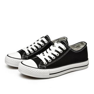 Semir 森马 2122187 女士休闲帆布鞋 黑色 36