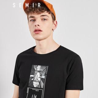 Semir 森马 19038001213 男士短袖T恤 黑色 XS