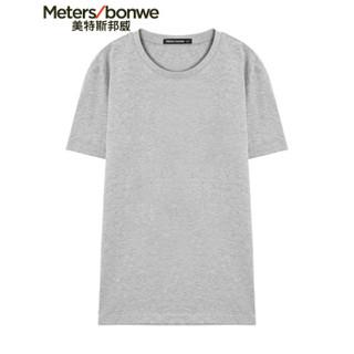 Meters bonwe 美特斯邦威 226250 男士净色圆领T恤 中花灰 185/104