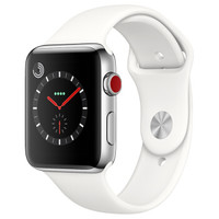 Apple 苹果 Apple Watch Series 3智能手表(GPS+蜂窝网络、42mm、银色铝金属、白色表带)
