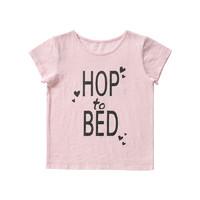 Finn+Emma芬妮爱玛女童短袖体恤-灰色字母粉色字母 适合1-5岁
