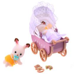 森贝儿家族日本品牌公主玩具女孩娃娃屋森林家族过家家植绒人偶-巧克力兔双胞胎家具套SYFC22068 *2件