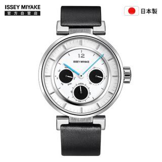 女士石英手表 三眼 黑色皮带 和田智设计