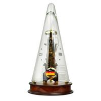 赫姆勒(Hermle)座钟 14天动力储存樱桃木设计师款金色钟塔水晶玻璃机械钟22716-160791咖啡色金色