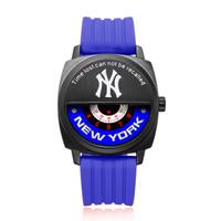 MLB 美国职棒大联盟 MLB-YH009-1 休闲情侣中性石英表 蓝黑蓝 硅胶带