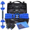 凯速胶圈款电镀哑铃30KG(15公斤*2)蓝杆运动健身套装杠铃男女士家用组合 送连接杆 专业手套 冰感毛巾