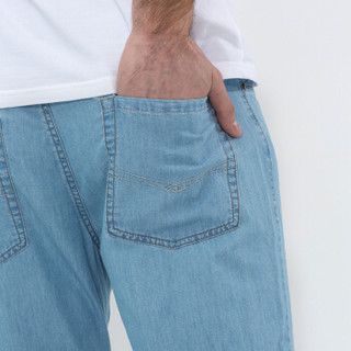 Markless NZA6007M 男士亚麻长牛仔裤 深牛仔蓝 34