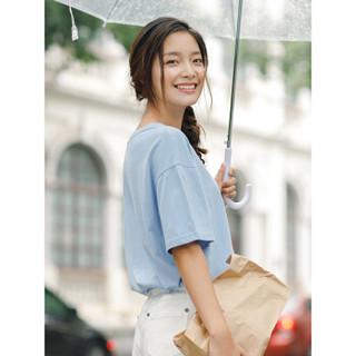 INMAN 茵曼 F1882022967 女士短袖T恤 天蓝色 S