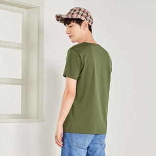 Semir 森马 19048001270 男士圆领短袖T恤 军绿 XXL