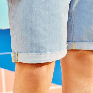 A21 4821023015 男士无弹薄款牛仔短裤 蓝白 27