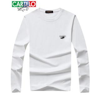 CARTELO 16057KE9518 男士纯色圆领长袖T恤 白色 3XL