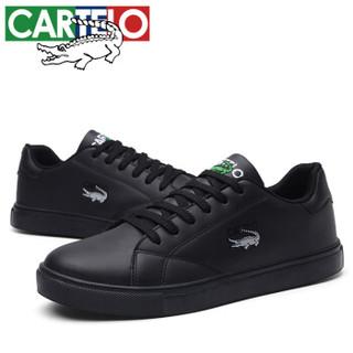CARTELO 卡帝乐鳄鱼 KDL816 男士低帮系带板鞋 黑色 39