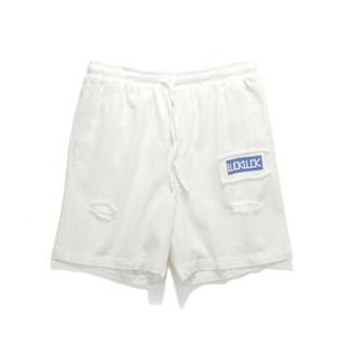 viishow 威秀 KD1589182 男士破洞须边牛仔短裤 白色 XL