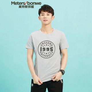 Meters bonwe 美特斯邦威 601289 男士章仔图案短袖T恤 中花灰 180/100