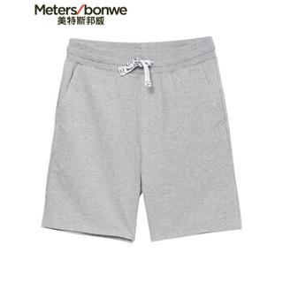 Meters bonwe 美特斯邦威 249386 男士针织短裤 中花灰 170/76