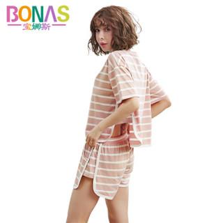 宝娜斯睡衣女夏季棉短袖宽松条纹套头时尚家居服套装 粉色 XL