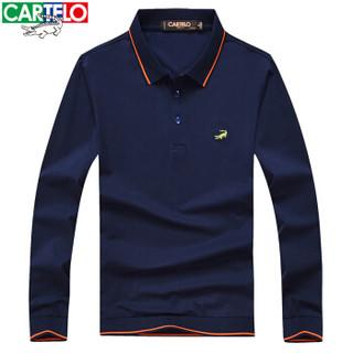 CARTELO 16001KE0902 男士翻领条纹拼接长袖POLO衫 宝蓝色 2XL