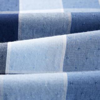 HLA 海澜之家 HNECJ2E113A 男士休闲格纹短袖衬衫 蓝灰格纹 39