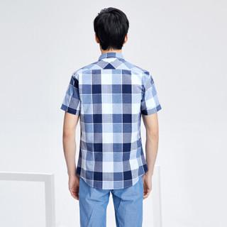 HLA 海澜之家 HNECJ2E113A 男士休闲格纹短袖衬衫 蓝灰格纹 42