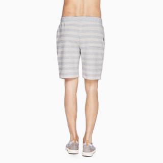 InteRight 男士针织条纹松紧短裤 (M、灰白条)